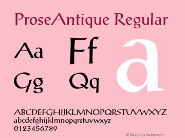 ProseAntique Regular v1.0c Font Sample