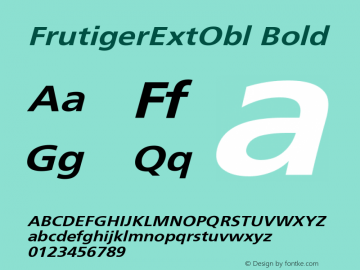 FrutigerExtObl Bold Version 001.000 Font Sample