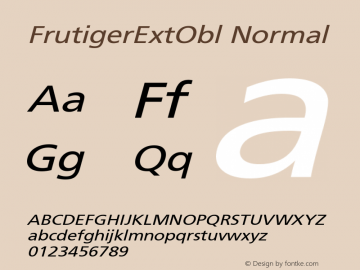 FrutigerExtObl Normal Version 001.000 Font Sample