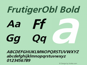 FrutigerObl Bold Version 001.000图片样张