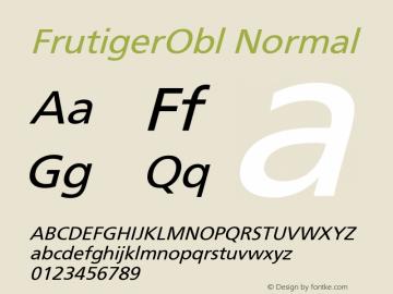 FrutigerObl Normal Version 001.000 Font Sample