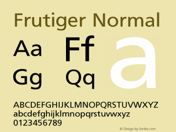Frutiger Normal Version 001.000 Font Sample
