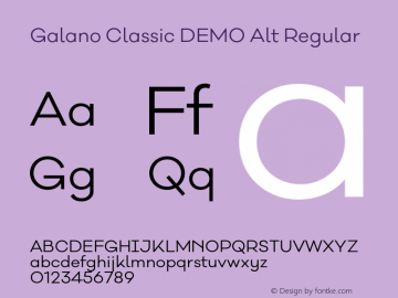 Galano Classic DEMO Alt Regular Version 1.000;PS 001.000;hotconv 1.0.70;makeotf.lib2.5.58329 Font Sample