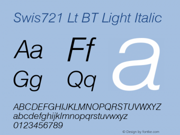 Swis721 Lt BT Light Italic mfgpctt-v4.4 Dec 30 1998 Font Sample