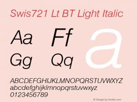 Swis721 Lt BT Light Italic mfgpctt-v4.4 Dec 30 1998 Font Sample