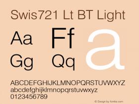 Swis721 Lt BT Light mfgpctt-v4.4 Dec 11 1998 Font Sample