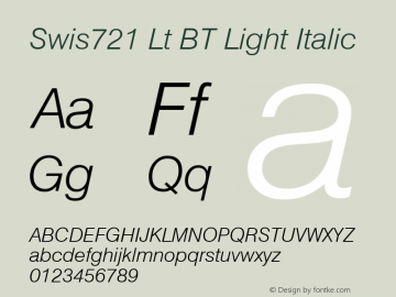 Swis721 Lt BT Light Italic mfgpctt-v1.52 Monday, January 25, 1993 11:38:31 am (EST) Font Sample
