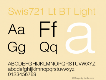Swis721 Lt BT Light mfgpctt-v4.4 Dec 11 1998 Font Sample