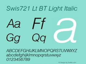 Swis721 Lt BT Light Italic Version 2.001 mfgpctt 4.4 Font Sample