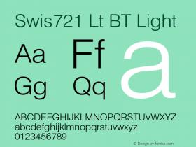 Swis721 Lt BT Light Version 2.001 mfgpctt 4.4 Font Sample
