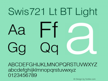 Swis721 Lt BT Light Version 2.001 mfgpctt 4.4 Font Sample