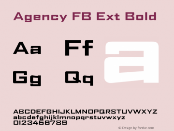 Agency FB Ext Font,AgencFB-ExtendedBold Font,Agency FB