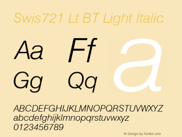Swis721 Lt BT Light Italic Version 1.01 emb4-OT Font Sample