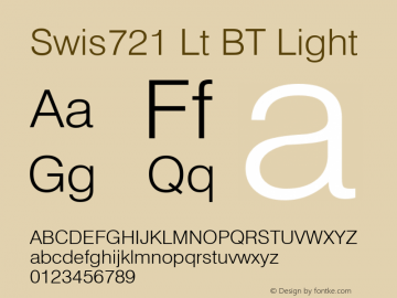 Swis721 Lt BT Light Version 1.01 emb4-OT Font Sample