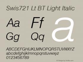 Swis721 Lt BT Light Italic mfgpctt-v1.52 Monday, January 25, 1993 11:38:31 am (EST) Font Sample