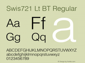 Swis721 Lt BT Regular Version 1.01 emb4-OT;com.myfonts.easy.bitstream.swiss-721.light.wfkit2.version.2fpq Font Sample