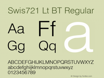 Swis721 Lt BT Regular Version 1.01 emb4-OT;com.myfonts.easy.bitstream.swiss-721.light.wfkit2.version.2fpq Font Sample