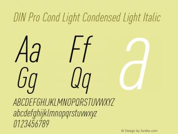 DIN Pro Cond Light Font,DIN Pro Condensed Light Italic Font