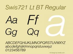 Swis721 Lt BT Regular Version 1.01 emb4-OT;com.myfonts.easy.bitstream.swiss-721.light-italic.wfkit2.version.2fpr Font Sample