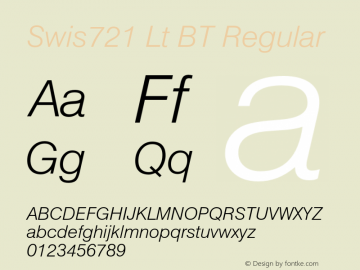 Swis721 Lt BT Regular Version 1.01 emb4-OT;com.myfonts.easy.bitstream.swiss-721.light-italic.wfkit2.version.2fpr Font Sample