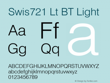 Swis721 Lt BT Light mfgpctt-v1.57 Wednesday, February 24, 1993 12:05:12 pm (EST) Font Sample