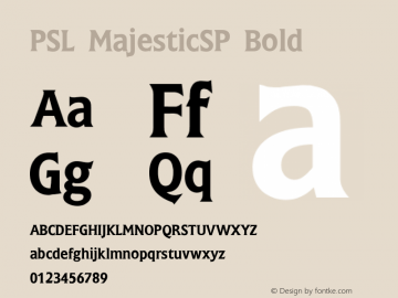 PSL MajesticSP Bold Series 2, Version 3.1, for Win 95/98/ME/2000/NT, release November 2002. Font Sample