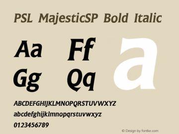 PSL MajesticSP Bold Italic Series 2, Version 3.1, for Win 95/98/ME/2000/NT, release November 2002. Font Sample
