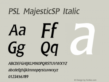 PSL MajesticSP Italic Series 2, Version 3.0, for Win 95/98/ME/2000/NT, release December 2000. Font Sample