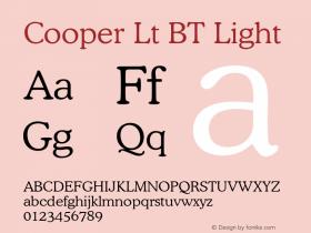 Cooper Lt BT Light mfgpctt-v1.46 Friday, October 2, 1992 2:12:30 pm (EST) Font Sample