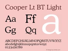 Cooper Lt BT Light mfgpctt-v4.4 Jan 4 1999 Font Sample