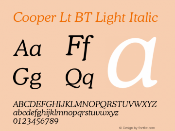 Cooper Lt BT Light Italic mfgpctt-v4.4 Jan 4 1999 Font Sample