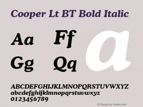 Cooper Lt BT Bold Italic mfgpctt-v4.4 Jan 4 1999 Font Sample