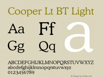 Cooper Lt BT Light mfgpctt-v4.4 Jan 4 1999 Font Sample