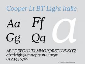 Cooper Lt BT Light Italic mfgpctt-v4.4 Jan 4 1999 Font Sample