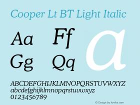 Cooper Lt BT Light Italic Version 2.001 mfgpctt 4.4 Font Sample