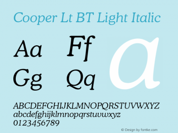 Cooper Lt BT Light Italic Version 2.001 mfgpctt 4.4 Font Sample