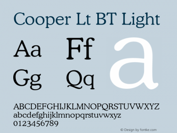 Cooper Lt BT Light Version 2.001 mfgpctt 4.4 Font Sample