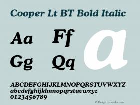 Cooper Lt BT Bold Italic Version 2.001 mfgpctt 4.4 Font Sample