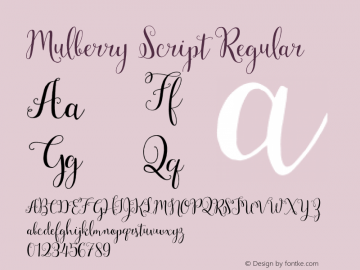 Mulberry Script Regular Version 1.00 2015 Font Sample