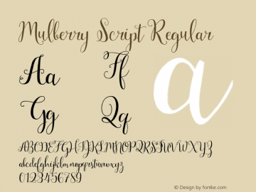 Mulberry Script Regular Version 1.00 2015图片样张