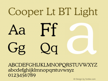 Cooper Lt BT Light Version 1.01 emb4-OT Font Sample
