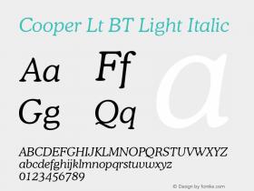 Cooper Lt BT Light Italic Version 1.01 emb4-OT Font Sample