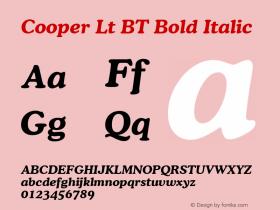 Cooper Lt BT Bold Italic Version 1.01 emb4-OT Font Sample