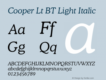 Cooper Lt BT Light Italic mfgpctt-v1.53 Friday, January 29, 1993 3:40:23 pm (EST) Font Sample