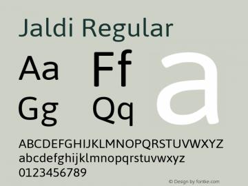 Jaldi Regular Version 1.005; ttfautohint (v1.3) Font Sample