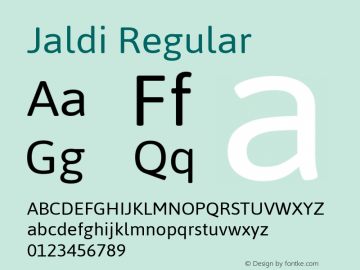 Jaldi Regular Version 1.007 Font Sample