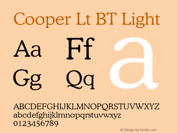 Cooper Lt BT Light mfgpctt-v1.48 Tuesday, December 8, 1992 2:57:55 pm (EST) Font Sample