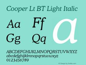 Cooper Lt BT Light Italic mfgpctt-v1.53 Friday, January 29, 1993 3:40:23 pm (EST) Font Sample