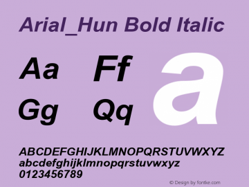 Arial_Hun Bold Italic TT font:v1.00 Font Sample