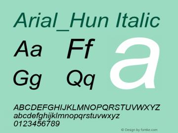 Arial_Hun Italic TT font:V1.00 Font Sample